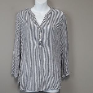 Old Navy Blue & White Striped Half Button Top
